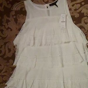 Delicate knit white tiered lace top